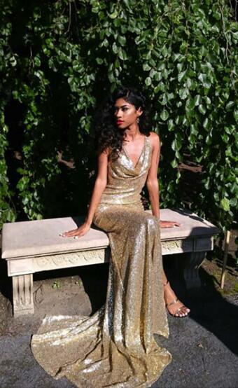 Gold Sequin Prom Dress ,Long Prom Dress with by prom dresses on Zibb
