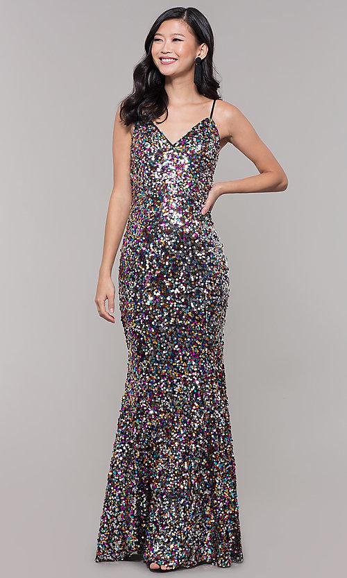 V-Neck Long Sequin Prom Dress - PromGi