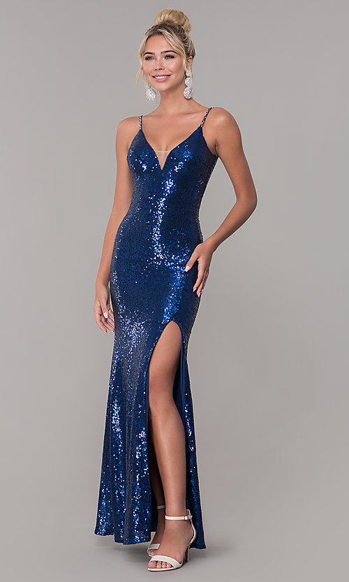 V-Neck Sequin Side-Slit Prom Dress - PromGi