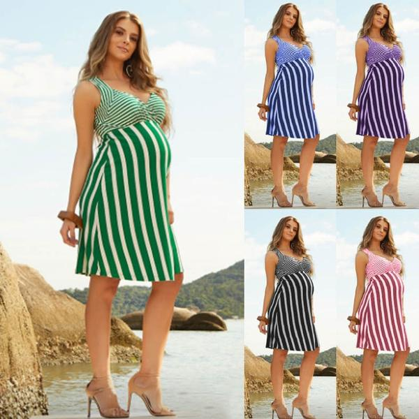 Maternity Dresses For Photography Sleeveless Stripe Sexy Print .