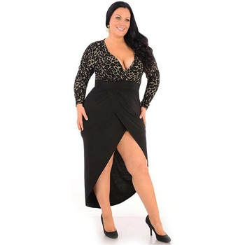 F20349A Hot sale plus szie prom dresses long sleeve sexy leopard .