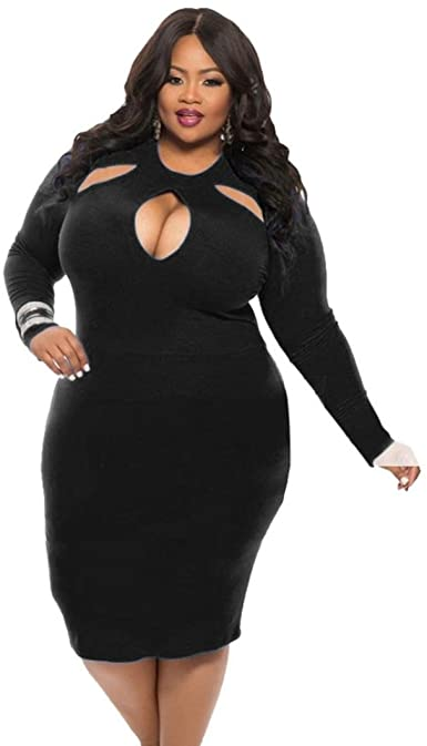 Goddessvan Plus Size Dress, Womens Sexy Long Sleeve Hollow Club .