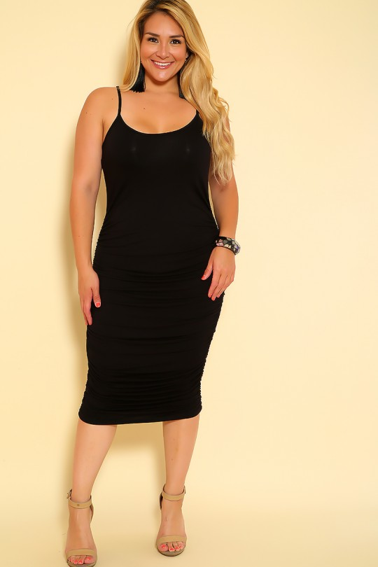 Sexy Black Ruched Accent Sleeveless Plus Size Dre