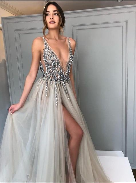 Promworld Backless Grey Evening Dresses 2019 Sexy Prom Dresses .