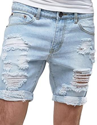 Sarriben Men's Summer Ripped Distressed Smart Slim Fit Destroyed .