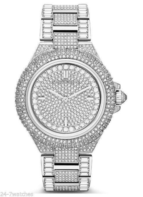NEW Michael Kors MK5869 Camille Crystal Encrusted Bracelet Silver .