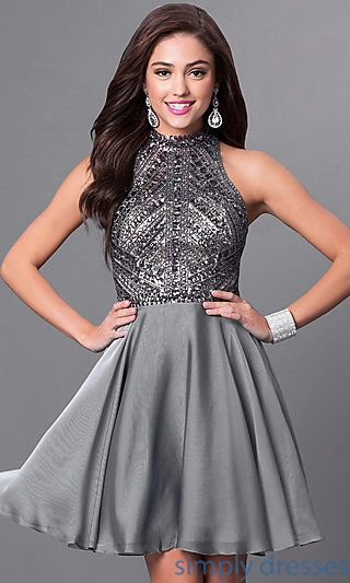 Milano Formals Short Silver Designer Homecoming Dress | Homecoming .