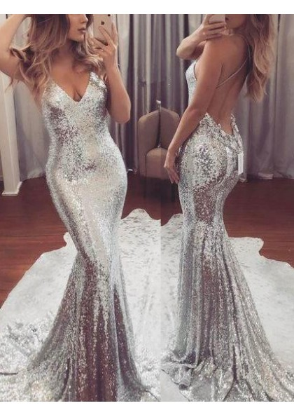2020 Sexy Silver Sequence Mermaid/Trumpet Backless Prom Dress