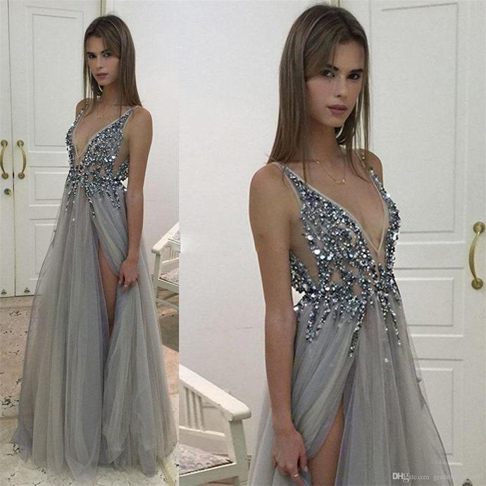 2019 Silver-Gray Charming Beading Prom Dresses by prom dress on Zibb