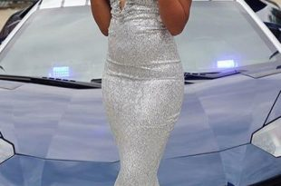 Trumpet/Mermaid Silver Prom Dress Sparkly Long Prom Dresses .