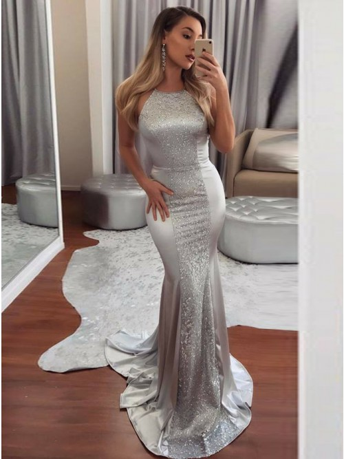 Mermaid Halter Backless Sweep Train Silver Prom Dress with Sequins .