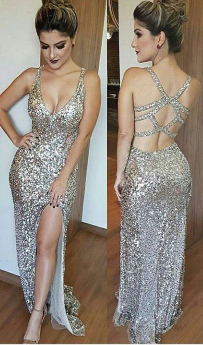 Luxury Bling Sparkle Silver Prom Dress Evening Dress Mermaid Deep .