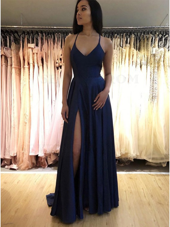 Buy Simple Long Spaghetti Straps Sleeveless Navy Blue Prom Dress .