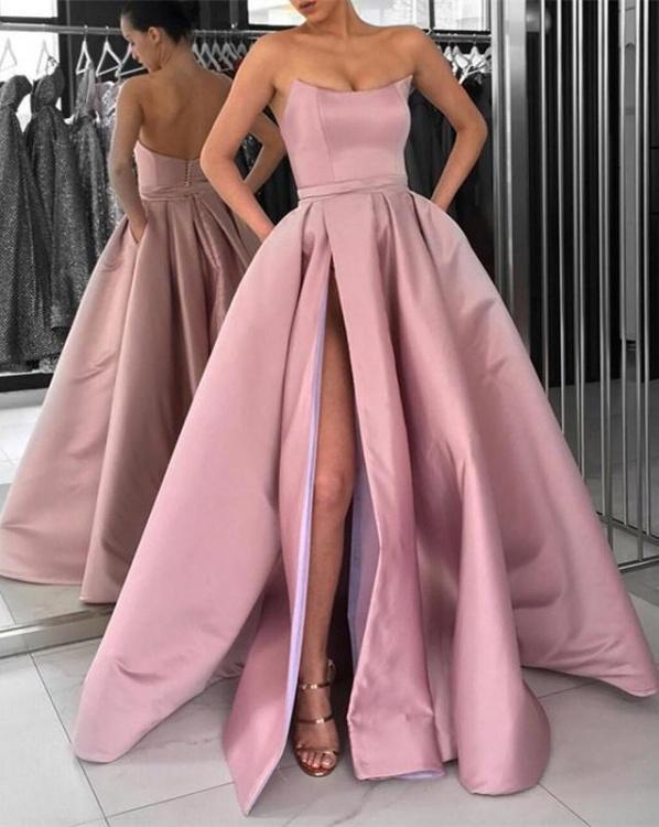 Simple Prom Dresses A Line Strapless Burgundy by prom dress on Zibb