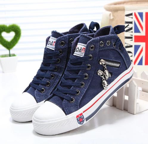 Denim Canvas Casual Sneakers Shoes Trainers for Women - SheCart .