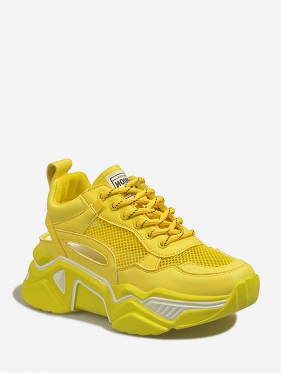 43% OFF] 2020 Lace-up Mesh Trim Platform Sport Shoes In YELLOW .