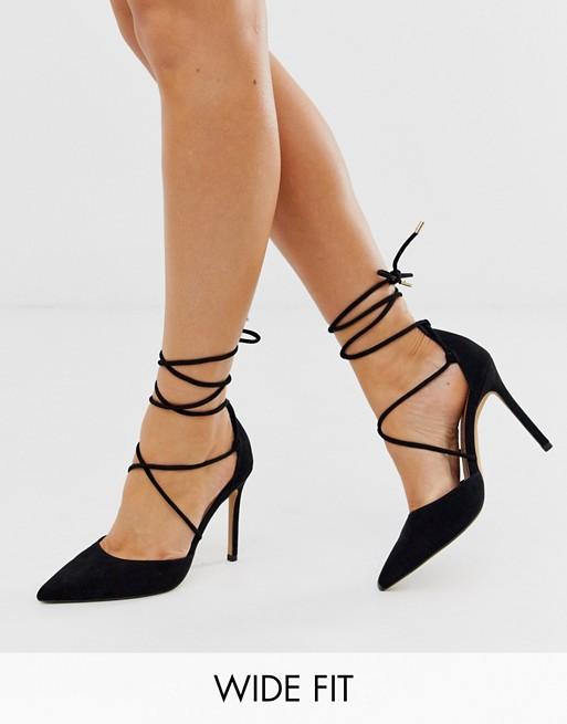 ASOS DESIGN Wide Fit Whisper tie leg high stiletto heels in black .