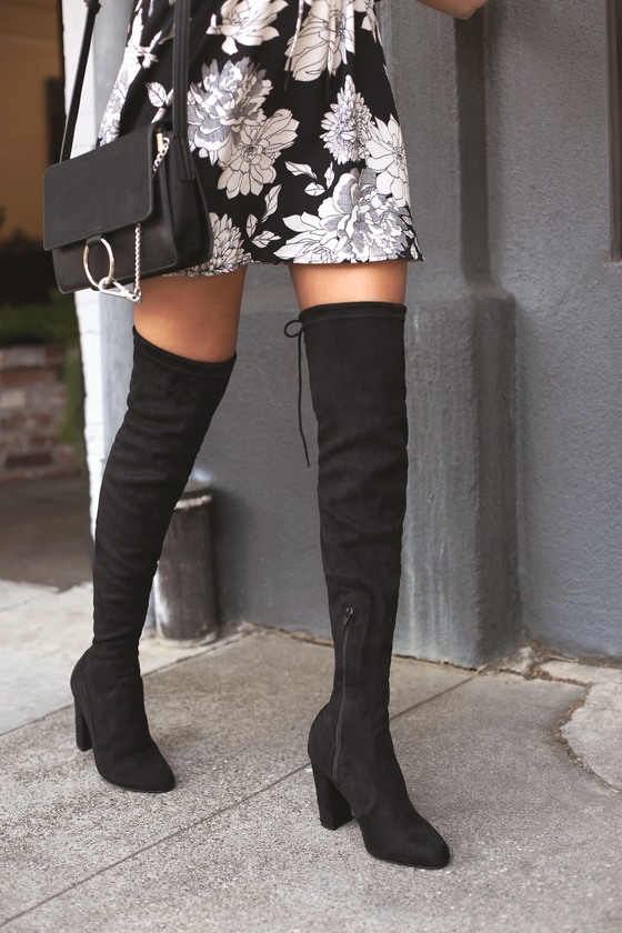 Chic Black Suede Boots - Black Over the Knee Boots - OTK Boo
