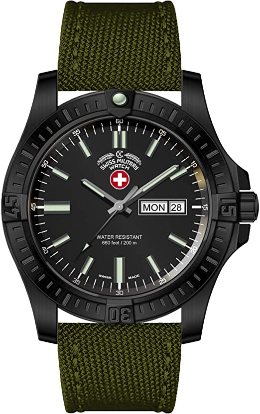 Amazon.com: Swiss Military Watch Desert Storm 3097 Black Dial .