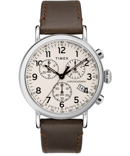 Standard Chronograph 41mm Leather Strap Watch - Timex