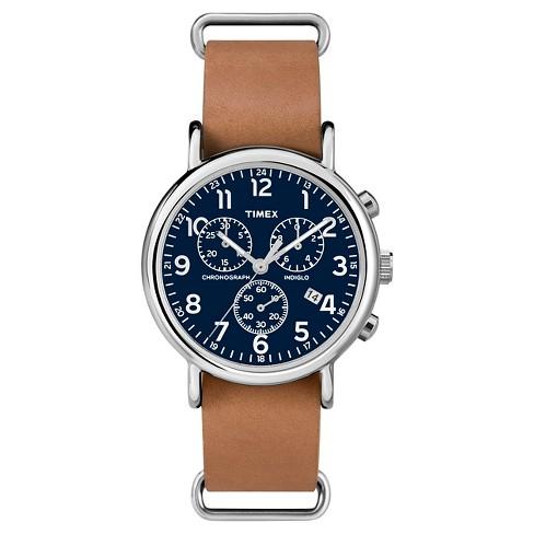 Timex Weekender Slip Thru Leather Strap Chronograph Watch - Tan .