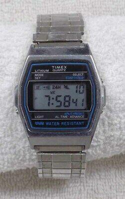 Vintage Timex LCD Digital Silver Tone Chronograph Watch * WORKS   eB