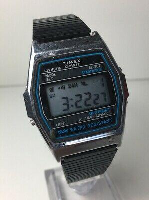 Vintage Timex Litio Digital Reloj Negro Azul Retro Alarma Crono .