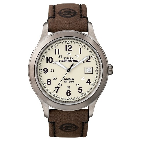 Men's Timex Expedition Field Watch With Leather Strap - Silver .
