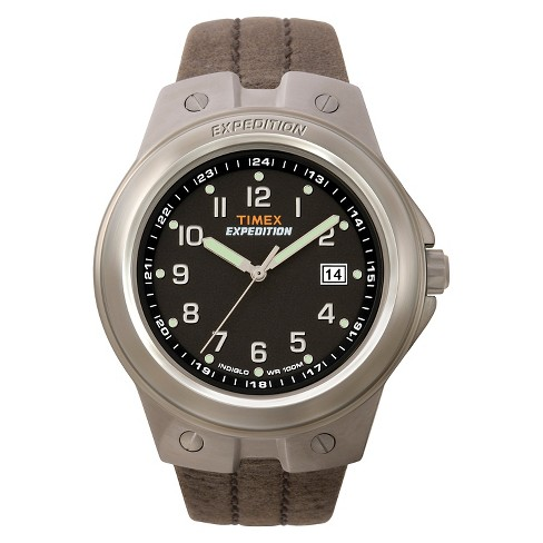 Men's Timex Expedition Watch With Leather Strap - Silver/Black .