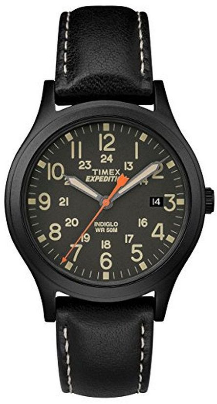 Men's Timex Expedition Scout 36 Black Leather Strap Watch .