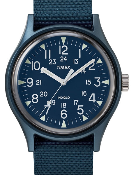 Timex 40mm MK1 Quartz Watch with Blue Dial and INDIGLOW Night .