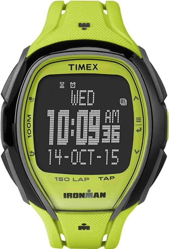 Men's Timex Ironman Sleek 150 Full Yellow Silicone Band Watch .