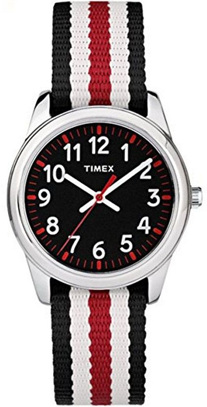 Kid's Timex Time Machines Boys Black And White Stripped Strap .