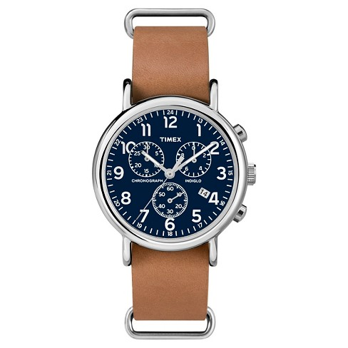 Timex Weekender Slip Thru Leather Strap Chronograph Watch - Tan .