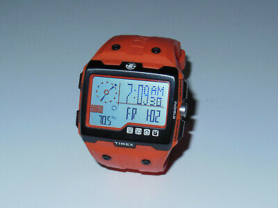 Used* Timex Expedition WS4 Watch T49761 Orange Altimeter Compass .