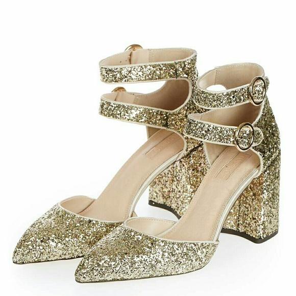 Topshop Shoes   Gold Glitter Heels   Poshma