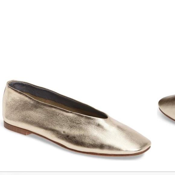 Topshop Shoes   Gold Kick Ballet Flat Glove Shoe   Poshma