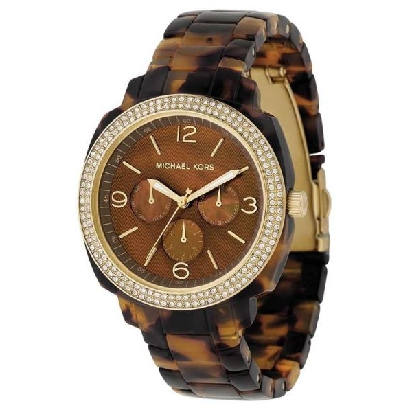 Michael Kors MK5086 Gold & Tortoise Shell Acrylic Ladies Wat