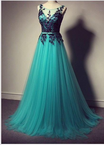 Turquoise Prom Dress With Black Lace, Tulle Prom Dress,Long Prom .