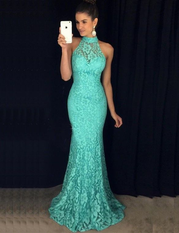 Mermaid High Neck Sweep Train Turquoise Sleeveless Lace Prom Dress .