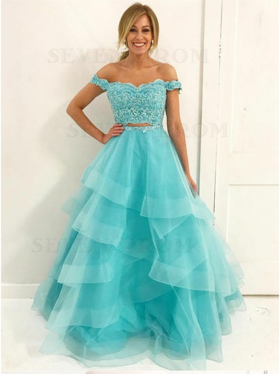 Buy Two Piece Off-the-Shoulder Floor-Length Turquoise Prom Dress .