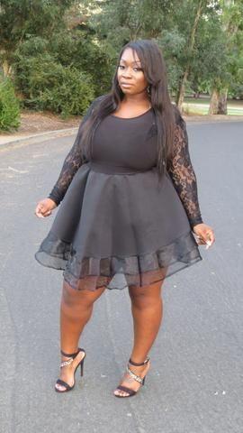 """PLus Size """"Amina"""" Long Sleeve Lace Tulle Babydoll Dress - Black ."""