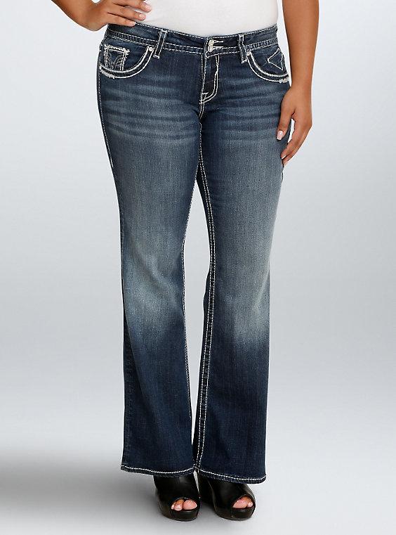 Plus Size - Vigoss Chelsea Boot Jean - Dark Wash with Gemstones .