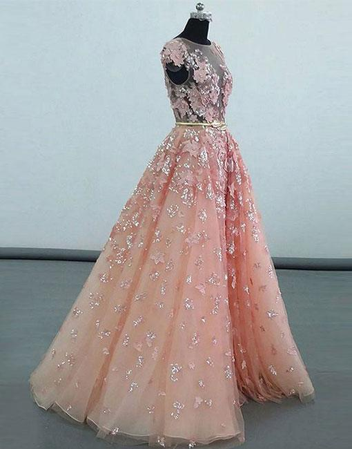 Simple Prom Dresses,New Prom Gown,Vintage Prom Gowns,Pink Lace .