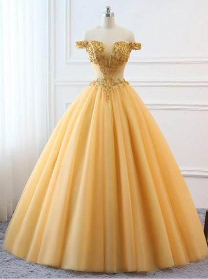 Ball Gown Vintage Prom Dress Plus Size Off The Shoulder Gold Prom Dr