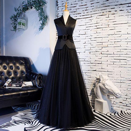Vintage / Retro Black Prom Dresses 2019 A-Line / Princess V-Neck .