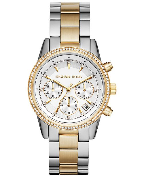 Michael Kors Women's Chronograph Ritz Two-Tone Stainless Steel .