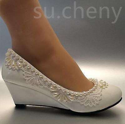 "Details about su.cheny 2"" Wedge lace pearls white light ivory ."
