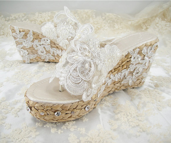 Wedding Shoes, Lace Sandals, Crystal Bridal Shoes, Beach Wedding .