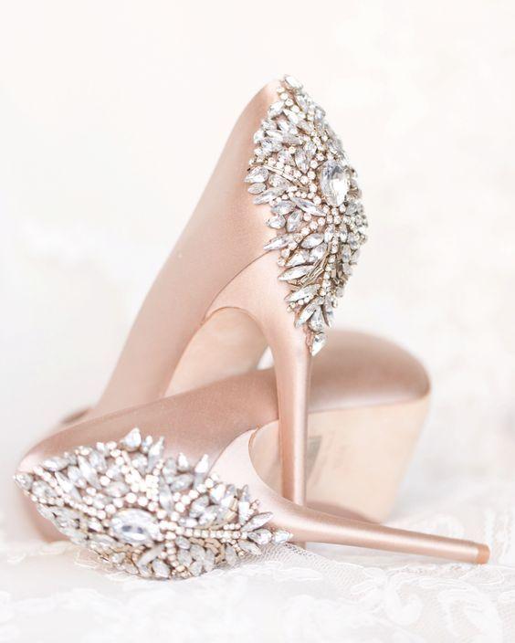 Jewel Embellished Wedding Shoes | Blush wedding shoes, Blush pink .